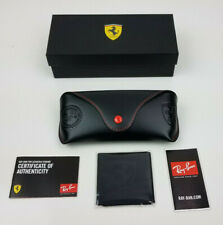 New authentic Ray-Ban Ferrari black/red leather case/cleaning cloth ML