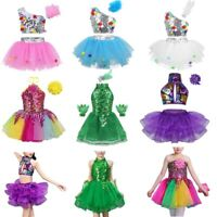 Girls Kids Dance Ballet Tutu Dress Sparkly Latin Jazz Dancewear Modern Costume
