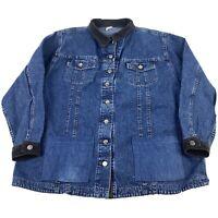 Women's 2XL Vintage Lee Riveted Blue Jean Denim Button Trucker Jacket Corduroy