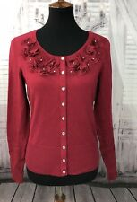 White House Black Market Womens Cardigan Sweater Bling Rose Red Sz Small