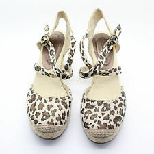 COCONUTS Audra Wedge Heel Round Toe Fabric Animal Print Sandal Shoes - Size 8