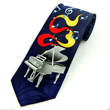 Piano Blues Men's Necktie Music Instrument Notes Musician Gift Blue Neck Tie