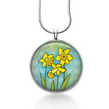 Easter Necklace - Daffodils Jewelry - Handmade - Art Pendant