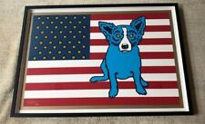 George Rodrigue Blue Dog And The Flag Silkscreen Print Signed And Numbered