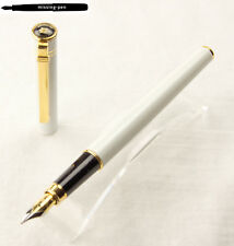 Older Diplomat Fountain Pen Attache in White with golden trims and M-nib