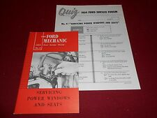 1954 FORD CAR POWER SEATS & WINDOWS SHOP SERVICE MANUAL plus 54 MECHANIC'S QUIZ