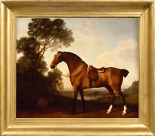 Old Master Art Portrait Saddled Bay Hunter Horse Oil Painting Unframed 30x40 in