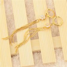 Vintage Tassel 14k Yellow Solid Gold Filled Womens Crystal Long Dangle Earrings