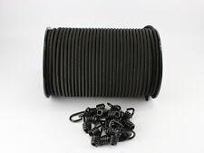 10mm Expanderseil schwarz 20m + 10 Spiralhaken Gummiseil Planenseil Haken Seil