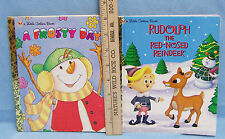 Little Golden Books A Frosty Day & Rudolph The Red Nosed Reindeer Lot of 2