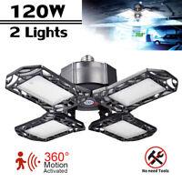 2X LED Garage Light Motion Sensor Deformable Workshop Ceiling Fixture Lamp 120W