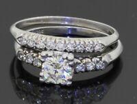 Antique Platinum .87CTW VS diamond bridal/wedding ring set w/.51CT ctr size 6.25