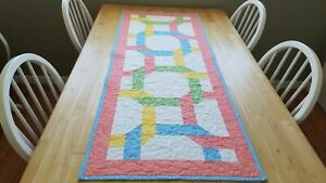 Handmade quilted table runner pastel colors on white