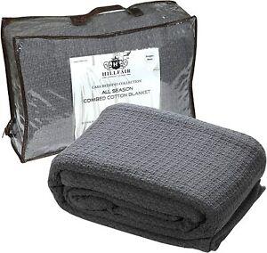 HILLFAIR 100% Soft Premium Combed Cotton Thermal Blanket– Queen Blankets– Soft C
