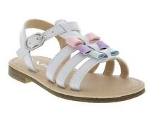 White Patent Sandals with Pastel Bows Little Girls Size 9