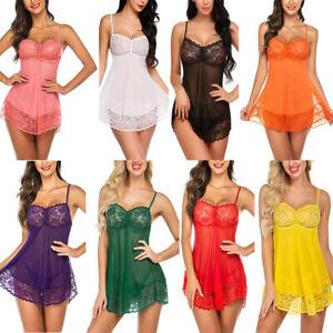 Womens Babydoll Lace Lingerie Dress G-String Underwear See Through Nightwear