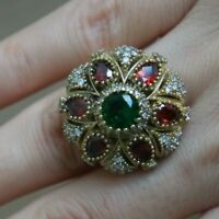 Turkish Handmade Jewelry Sterling Silver 925 Ruby and Emerald Ring Size 6,7,8,9