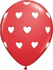 "Red Balloon With White Printed Big Hearts 11"" Latex Balloons Pk6 Helium or Air"