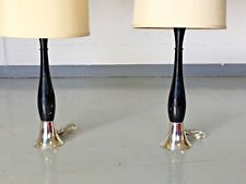 Mid Century Table Lamps Sterling Silver Ebony Wood Pedestal Hollywood Glam