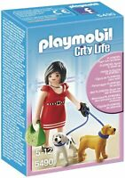 PLAYMOBIL 5490 Donna Signora con Due Cuccioli di Cane ►NEW◄ PERFECT NEVER REMOV