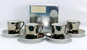 Georg Jensen Fitz & Floyd Silver Mirror Demitasse Espresso Cups Saucers x 4