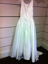 Beaded Scoop Back White Satin Wedding Dress Ballgown - Size 12