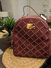 BEBE Gemma Rhinestone Studded Large Backpack Purse  Wine Burgandy