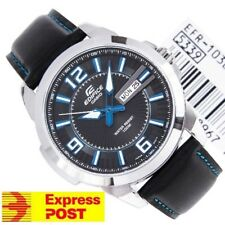 Casio Edifice Watch EFR-103L-1A2 Stainless Steel & Leather WR 100M EXPRESS POST
