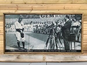 Antique Rustic Style Lou Gehrig Day Speech Wood Display Sign 12x24