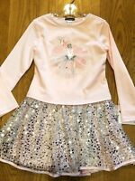 New Fall 2018 Kate Mack pink/silver ballet dress w/silver sequins skirt,4T, NWT