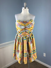 TUCKER S P Strapless Plaid Silk Cocktail Party Dress yellow Blue Anthropologie