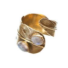 Modeschmuck-Ringe aus Messing mit Mondstein