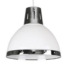 Estilo industrial moderno blanco brillante pantalla de Lámpara Colgante De Techo De Cromo Lámpara