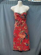 Karen millen Red Floral Black Lace two piece Set Corset Top And Pencil Skirt 12