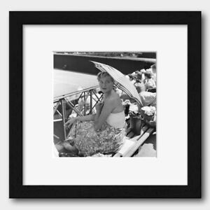 Beautiful Lady with a Parasol at a Tennis Match England 1957 Print