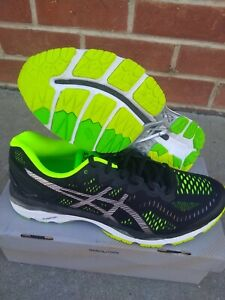 Asics Men's Gel Kayano 23 Black Silver Safety Yellow Size 11 us