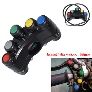 7 Buttons ATV Motorcycle Switch Assembly 22 mm Handlebar Moment/Latching Plastic