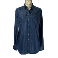 Talbots Blouse NWOT Women's Blue Button Up Top 100% Lyocell Size XS