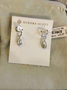 Kendra Scott  Clove Huggie Hoop Earrings, Rhodium W Pouch