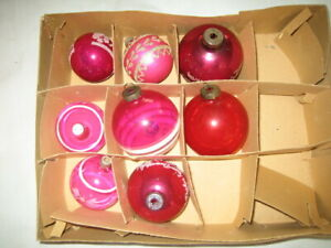 Vintage Red Shiny Brite Ornaments ~ Mica Striped Clear Flocked