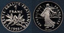 France : Magnifique 1 Franc 1993 Semeuse BE FDC du Coffret Top Qualité Rare