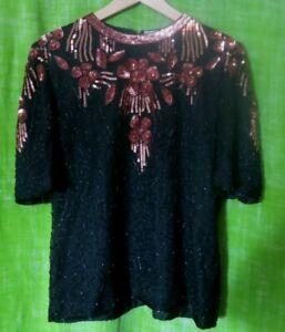 FRANK USHER Silk Vintage Top Black and Golden Copper Floral Sequins  and Beads