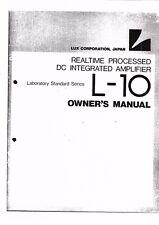 LUXMAN manuale di istruzioni user manual Owners Manual per L - 10