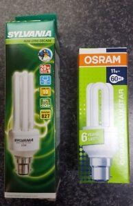 2x Energy Saving Bulb BC B22 11W 20W CFL Stick 2700K Osram Sylvania Mini lynx