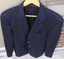 BROOKS BROTHERS Mens 2-Button Blazer Coat Gold Buttons Navy Blue Size 43 LNG