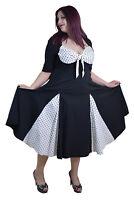 Plus Women Pinup Vintage 50s white black Polka dot Swing Party Dress