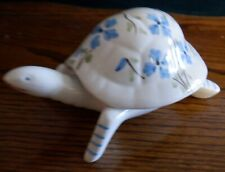 Porcelain Blue Flowered Turtle, 7 inches long, Trinket holder, made in Portugal.