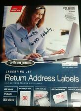 8 Sheets (640) Wilson Jones RETURN Labels 1/2