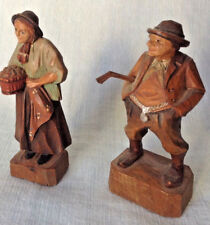 "Vintage Flat Plane Wood Carvings -Old Man & Old Woman 3.5"" Polychrome"