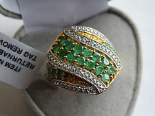 Large 2.25Cts Brazilian Emerald & Diamond Wrap 14K Y Gold/925 Ring Size S